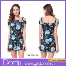 2015 Women Open Back Floral Rompers Playsuit Jumpsuit Printed Dress