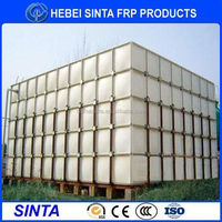 big size construction site grp sectional water tank water softener brine tank