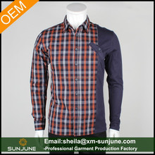 OEM high quality long sleeve fancy design mens check shirts