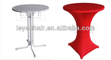 factory direct high quality LED foldable cocktail table bar table bistro table with stretch cover