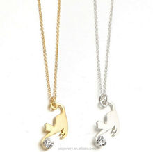 Fine jewelry Natural Crystal 18k gold Polished Stretched Cute Cat necklace