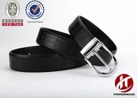 Men's new zinc alloy genuine leather belt with crocodile grain