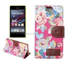 flower Flip leather case for Sony Xperia Z4 mini, for Xperia Z4 mini leather case pouch bag