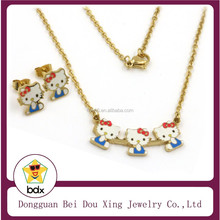 High-end Stainless Steel Gold Plated Colorful Enamel Hello Kitty Jewelry Sets for Girls Cute Cat Pendants Necklace and Earrings