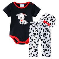 Baby clothes 2015 organic cotton clothing baby kids brand clothing cartoon dog jumpsuit+hat+pant