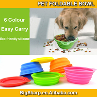 100pcs sale environmental protection material outdoor silicone folding pet bowl for dog cat portable easy take outside for trip