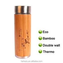 Eco Bamboo BPA free double wall stianless steel thermo mug, coffee mug, travel mug