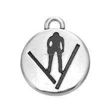 Fashion Wholesale Zinc Alloy Antique Silver Plating Sports Ski Jumping 925 Silver Charms