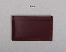 Personalized genuine leather card holder,simple leather business card case ,wine red card