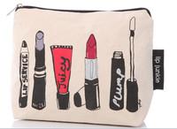 Custom Printed White Plain Canvas/Cotton Travel Cosmetic Bag