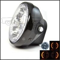 BJ-HL-008 Universal amber black 35W 26 LED dirt bike racing motorcycle round headlight
