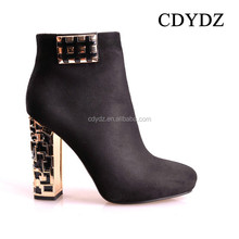 CDYDZ K1013-S3687A pointed toe black suede high-heeled Boots for Women shoes with thick metal side zipper 2015 new fashion sexy