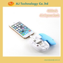 new design, power bank charger ; with 4 cable inside, cable box power bank