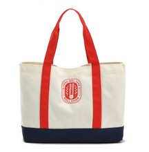 Two-Tone Cotton Canvas Eco Original Green Sturdy Everyday Book Grcery Large Shopping Tote Bag With Zipper