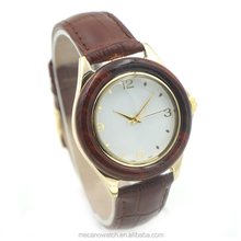 Wooden watch, factory price, stainless steel case with genuine leather