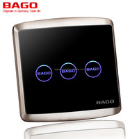 tempered glass 3 gang 1 way touch switch with LED