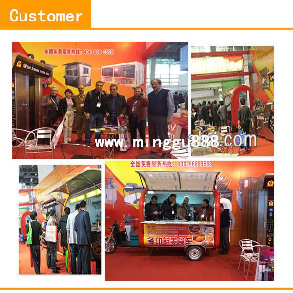 2014 new arrival stainless steel and FRP with big wheels food cart for sales
