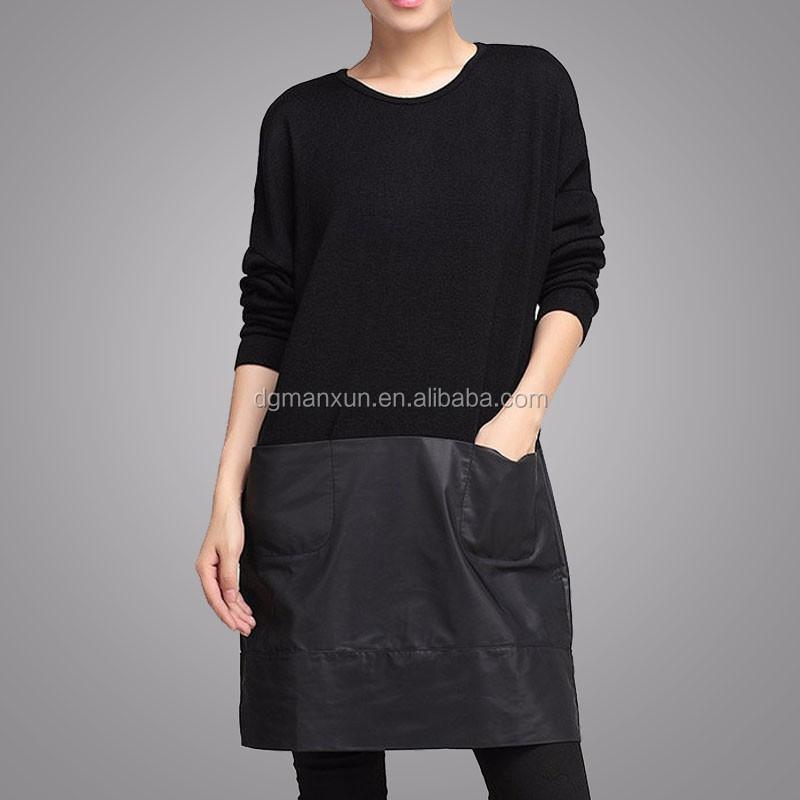 Handmade Customized High Quality Fashion Women Black Block Clothing Long Sleeve Round Neck Apparel Loose Elegant Garment (3).jpg