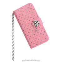 2014 Top manufacture OEM luxury bling bling crystal diamond wallet case for iphone 5 5S