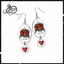 Oval Dangling Heart Painted Stainless Steel Earrings