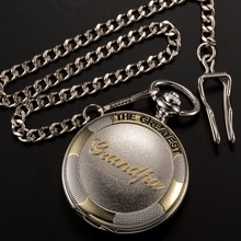Antique Silver Grandpa Analog Men Alloy Pendant Chain Quartz Pocket Watch