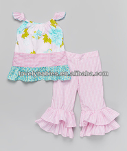 Aqua Floral Ruffle Top & Pants ,New arrival fresh cotton baby clothing set cute short sleeve t-shirt ruffle flower pant baby set