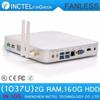 Fanless Tiny PC With Intel Celeron 1037U Dual Core 1.8GHz Computador HM76 2G RAM 160G HDD POS System