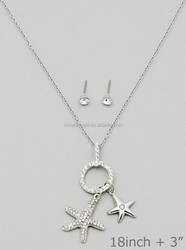 STAR FISH PAVE CHARM NECKLACSE SET