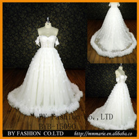 Unique design Real Samples Off Shoulder V Neck Hand Made flower Ball Gown Lace Wedding Dress 2015