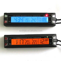 DIHAO In/Out Digital LCD Auto Car Temperature Thermometer &Clock Voltage Meter Monitor