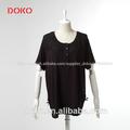 2014 nueva llegada de verano negro blusa casual para mujer de grasa