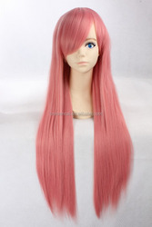 Hot sale high temperature fiber long smoke pink straight hair cosplay wig