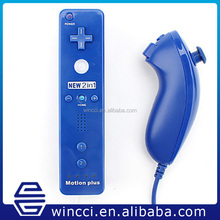 Wholesale!!! high quality remote and nunchuk for wii 2in1 motion plus controller