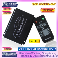 2-ch mini SD card video recorder DVR supports Video + Audio (1 channel synchronous output)