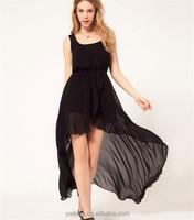 2015 Summer Short Front Long Back Sexy Irregular Beach Hem Sundress Maxi Chiffon Girl Dress