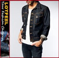 High quality raw denim man jeans jacket pakistan xxx jacket jeans(LOTN050)