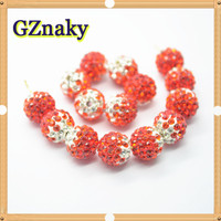 Color-38 10mm Shamballa glass various color ball Beads cz round diamond pave bead For Jewelry bracelet
