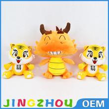 Hiqh quality plush dragon&tiger toy cartoon dragon doll soft cartoon animal toy