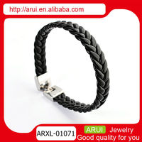 hot sale new items 2014 leather bracelet stainless steel