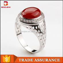 Stylish design natural stone red agate surrounded by AAA zircon 925 sterling silver hollow out rings for men