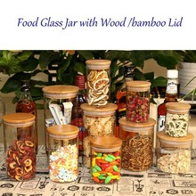 Directly Manufacturing borosilicate glass food storage container with wooden lid,Glass jar Bamboo lid 250ml-650ml