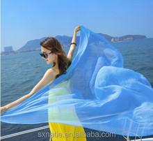 Summer Seaside Long Section Solid Color Chiffon Super Sarong Sunscreen Shawl
