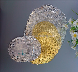 New Tableware Gold and Silver Paper Doilies, Round Doiley, Colored Lace Paper Doilies for Wedding