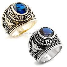 Wholesale gemstone stainless steel USA air force ring