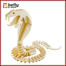 Funny snake skeleton toy 3d wooden animal puzzle