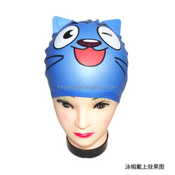 Funny Cat Ear Swimming Caps,Silicone Swimming Caps For Kids,Printing Silicone Swim Caps