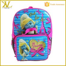 Cute cartoon kids brand name school bags with lunch bag, wholesale school backpack for girl