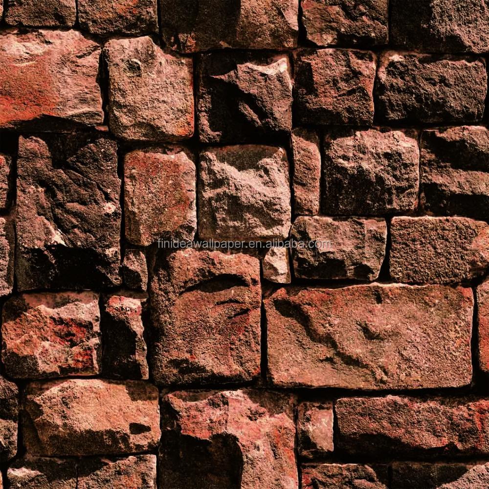 2015 Modern Design Stone Brick Pattern Pvc Wallpaper For