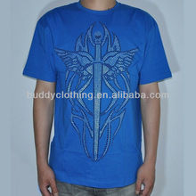 Blue Short Sleeve Crew Neck Jersey Cotton T-shirt, Fit for Men
