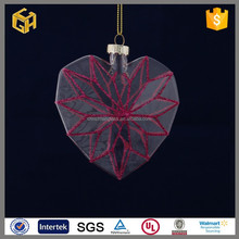 Red lines heart love blown glass ball christmas ornaments